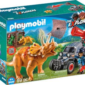 CERCETATOR - AUTOMOBIL SI TRICERATOPS-Playmobil-Dinos-PM9434