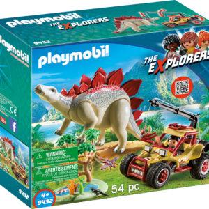 CERCETATOR - MASINA DE TEREN SI STEGOSAURUS-Playmobil-Dinos-PM9432