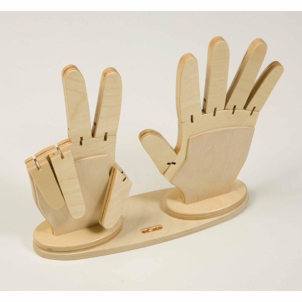 Maini din lemn cu degete care se flexeaza, pentru numarat Educo Didactopia