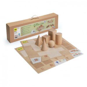 Set educativ - Corpuri Geometrice - lemn natur - Erzi prin Didactopia 1