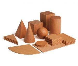 Set educativ corpuri geometrice lemn Didactopia
