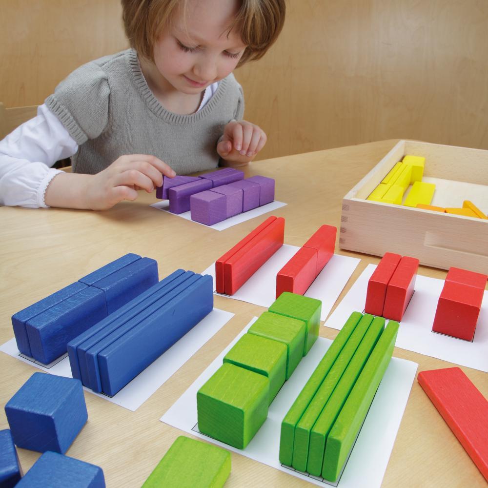 Set lemn multicolor Invatarea volumelor
