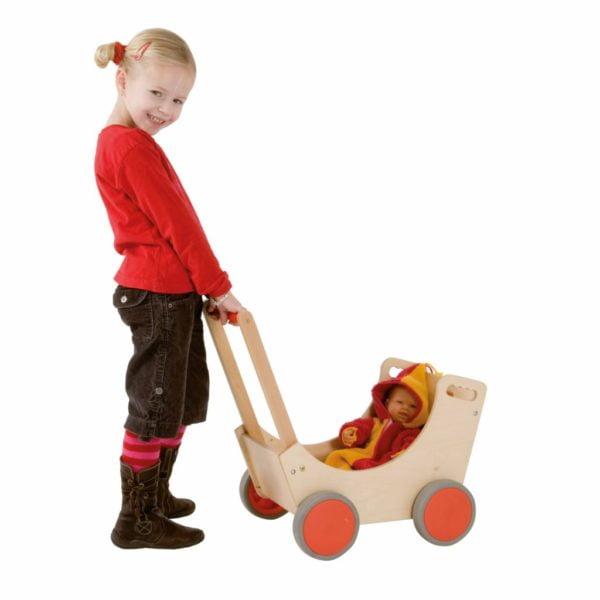 Cărucior din lemn, pentru păpuși sau jucării1-Educo-Didactopia
