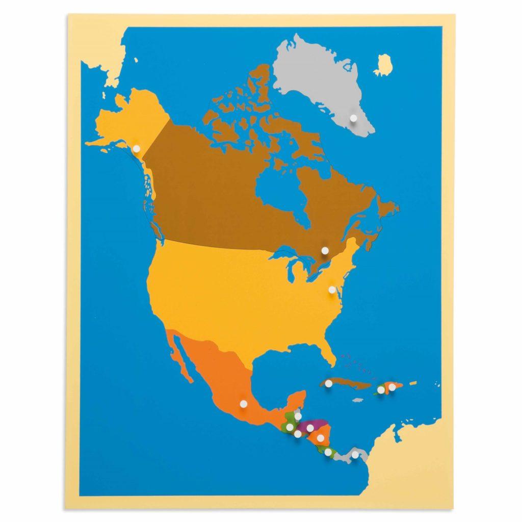 Harta America de Nord - Puzzle educativ - geografie - Montessori original
