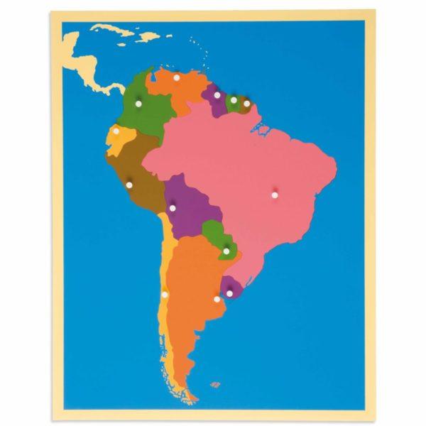 Harta America de Sud - Puzzle educativ - geografie - Montessori original