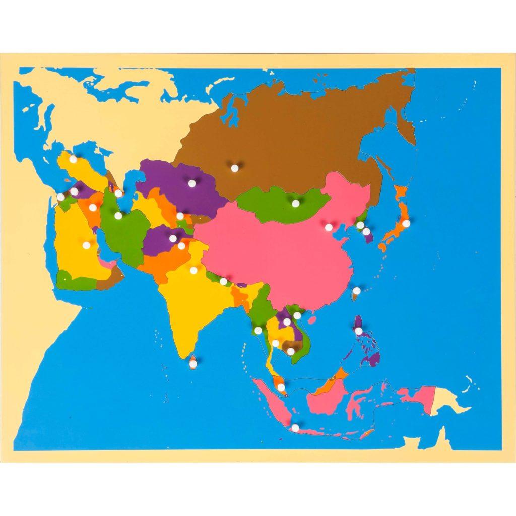 Harta Asia - Puzzle educativ - geografie - Montessori original