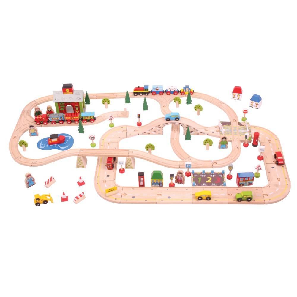 Circuit auto si feroviar (101 piese) - Orasul - Seturi de tren - BigJigs
