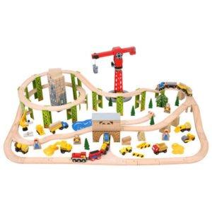 Circuit auto si feroviar - Santierul (116 piese) - Seturi de tren - BigJigs