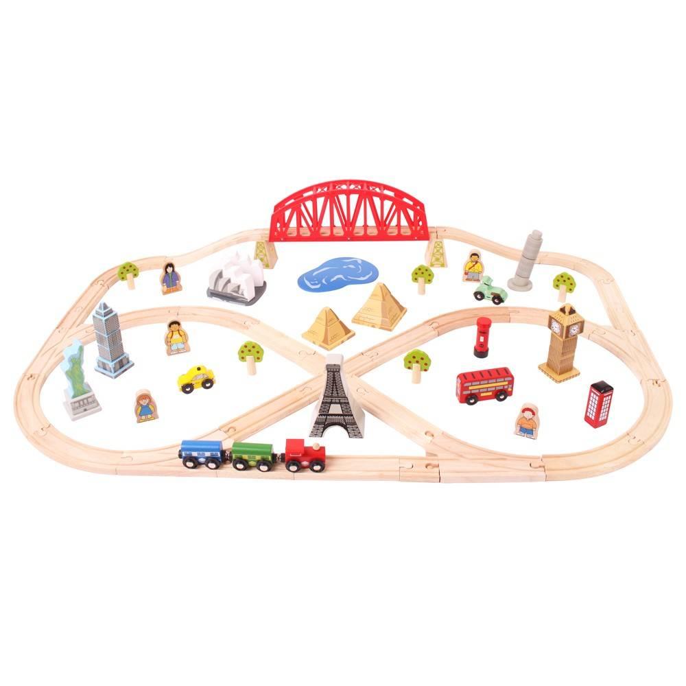 Circuit feroviar - Ocolul Pamantului (73 piese) - Seturi de tren - BigJigs