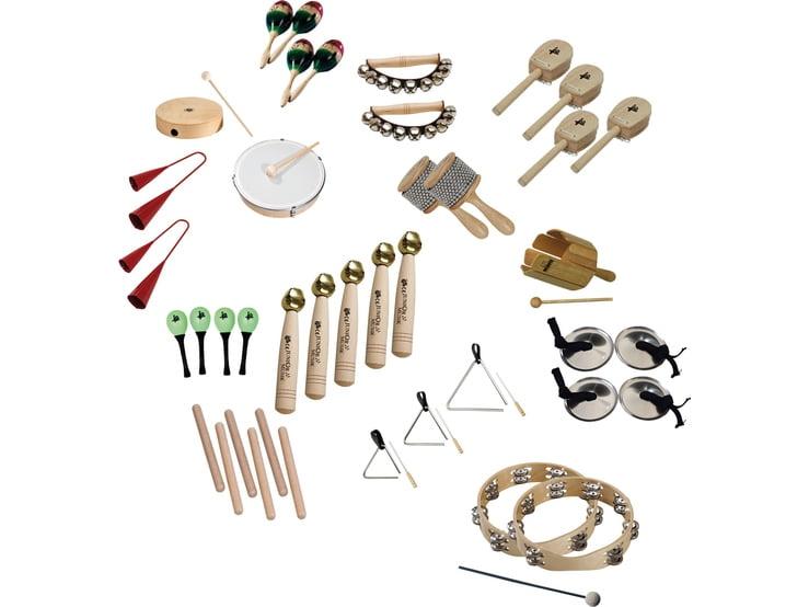 Instrumente percutie - set complet de grup - 35 piese inclusiv geanta sortare