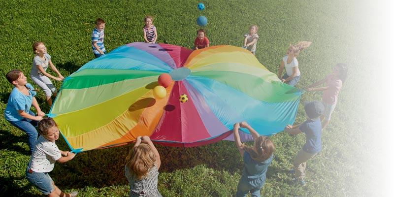 Parasuta joaca cooperare copii - adulti - Outdoor - Haba Education