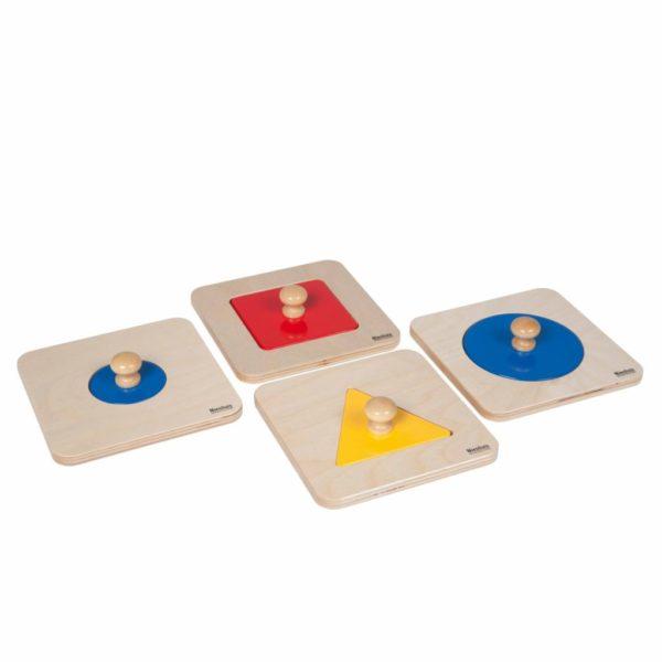 Set Puzzle geometric - 4 piese distincte - original Montessori - Nienhuis