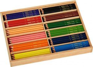 Set cutie lemn cu creioane colorate triunghiulare - 12 culori - 144 creioane