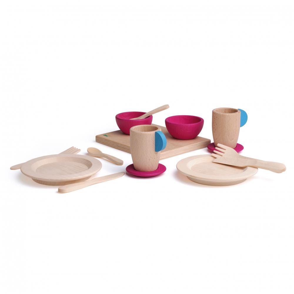 Set serviciu de masă - jucarie lemn - Erzi Germania