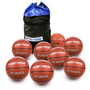 Set 8 mingi de baschet School Pro - inclusiv 1 minge competiţională - inclusiv geantă