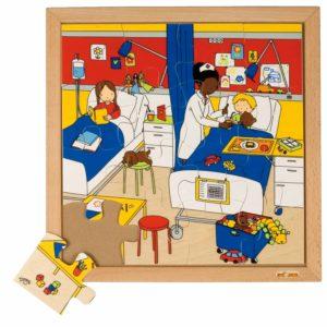 La spital - Colecția - Sănătate - Puzzle educativ din lemn - Educo by Didactopia