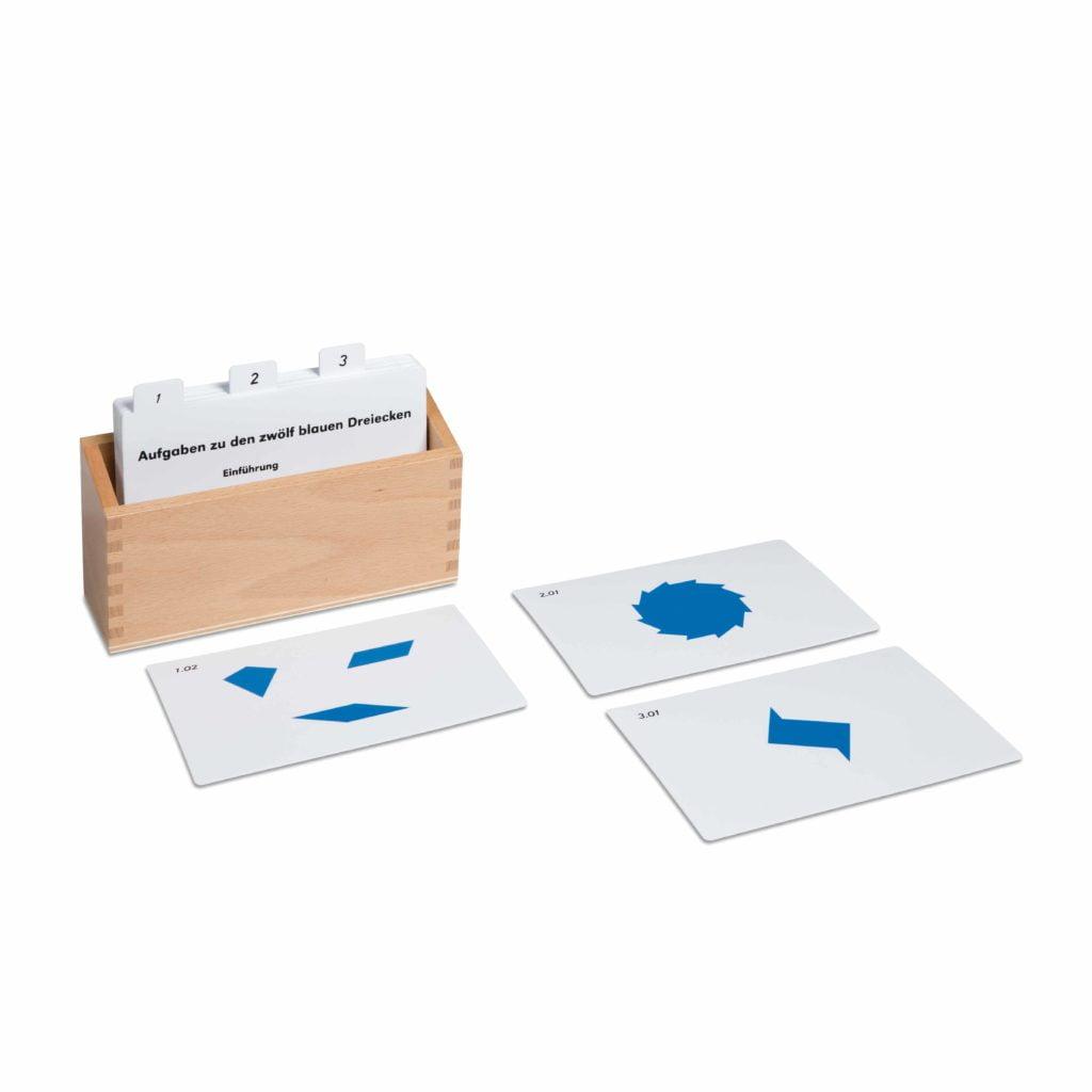 12 Identical Blue Triangles Activity Set (German version)-produs original Nienhuis Montessori-prin Didactopia by Evertoys