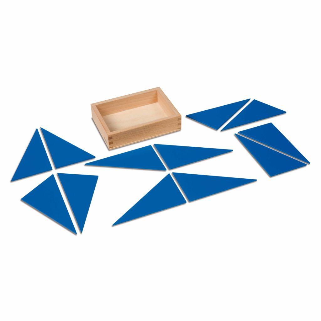 12 Identical Blue Triangles-produs original Nienhuis Montessori-prin Didactopia by Evertoys