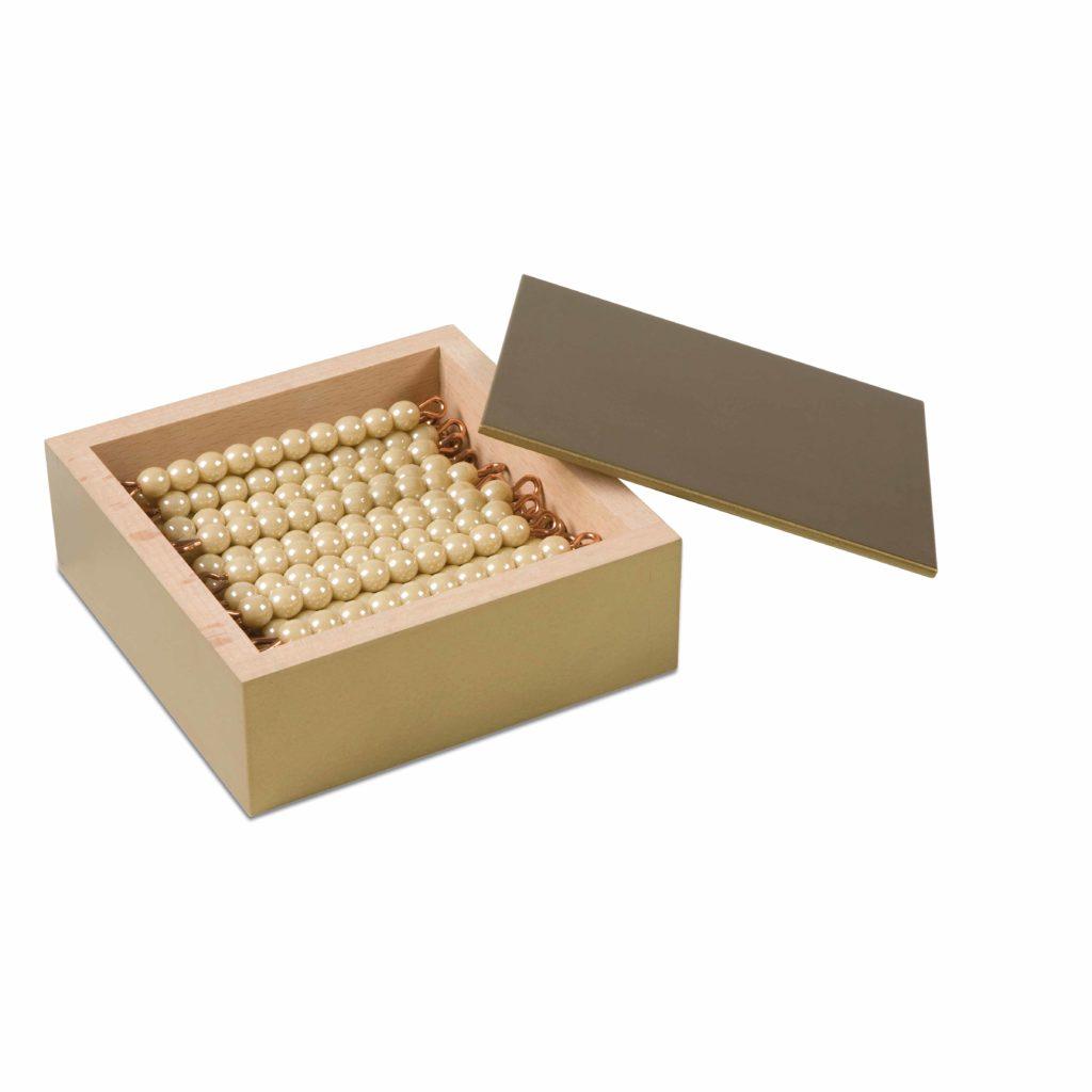 45 Golden Bars Of 10 In Box: Individual Beads (Glass)-produs original Nienhuis Montessori-prin Didactopia by Evertoys