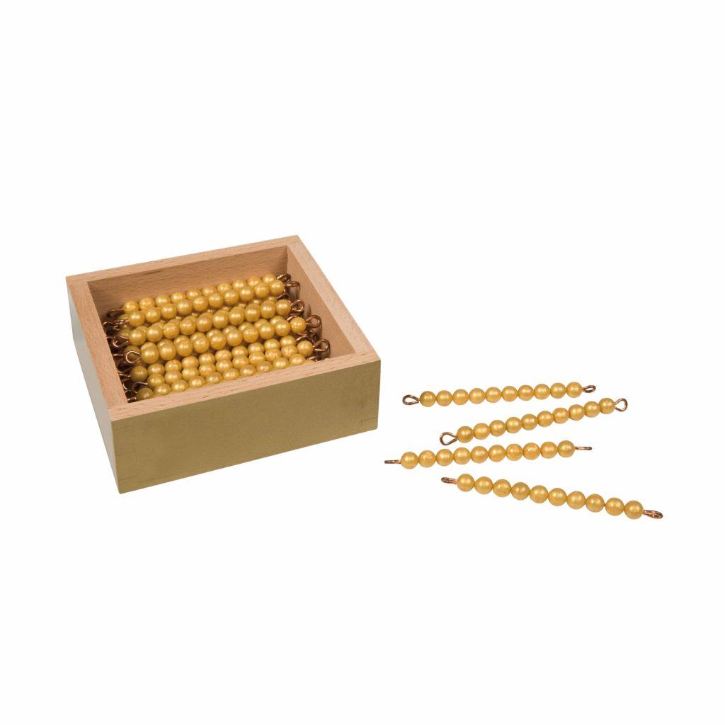 45 Golden Bars Of 10 In Box: Individual Beads (Nylon)-produs original Nienhuis Montessori-prin Didactopia by Evertoys