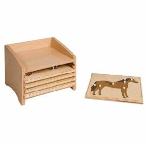 Animal Puzzle Cabinet: Five Compartments-produs original Nienhuis Montessori-prin Didactopia by Evertoys