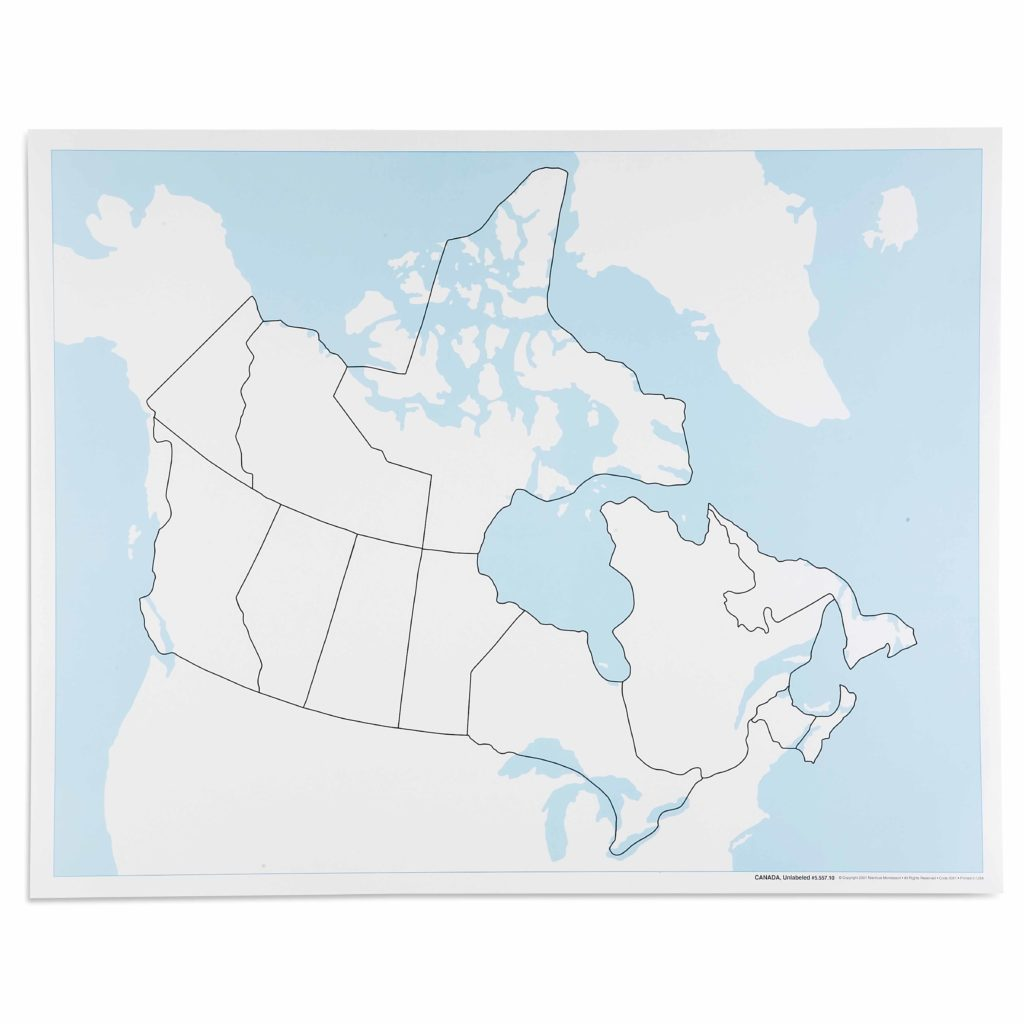 Canada Control Map: Unlabeled-produs original Nienhuis Montessori-prin Didactopia by Evertoys