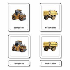 Construction Equipment 3 Part Cards-produs original Nienhuis Montessori-prin Didactopia by Evertoys