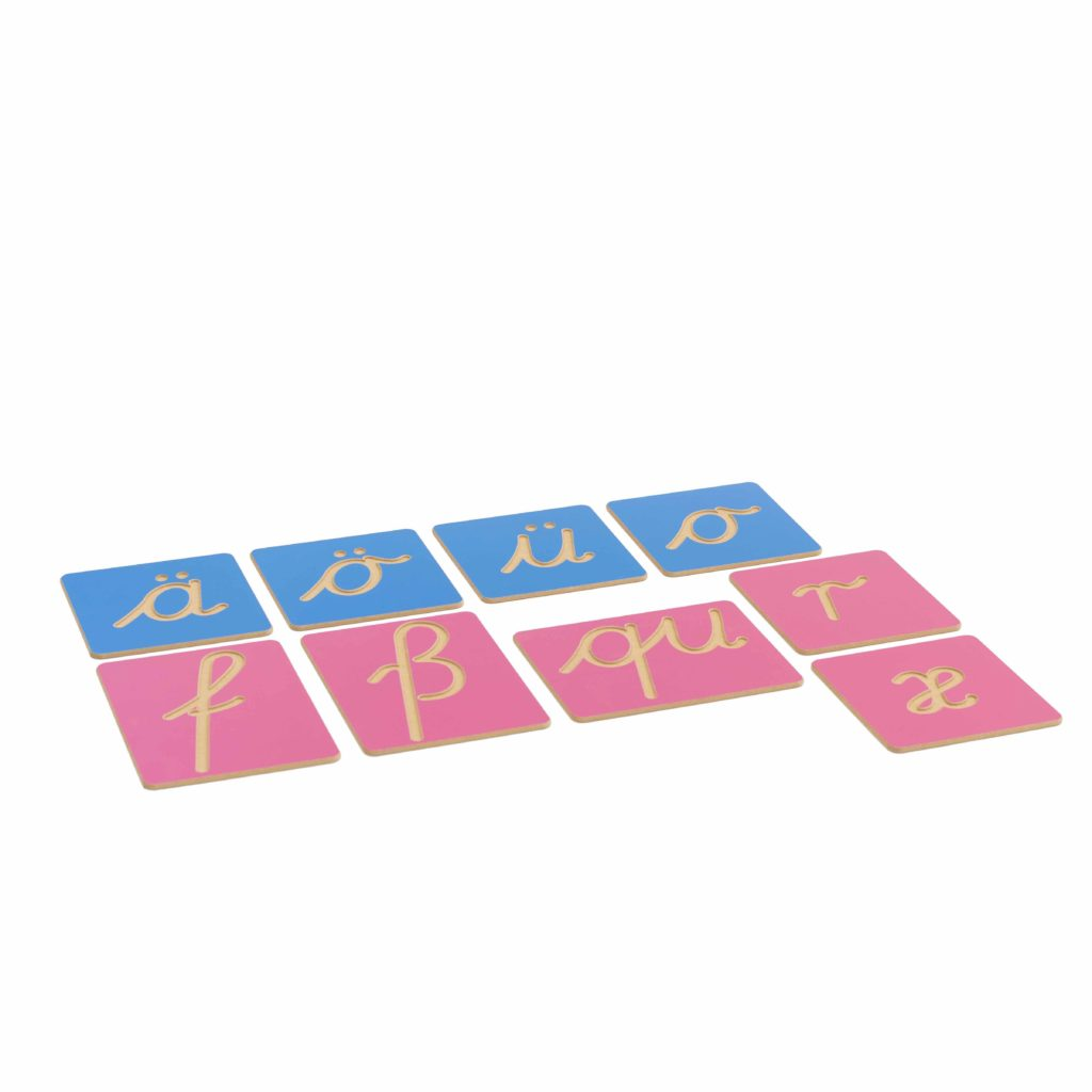 Hollow Letter Shapes: German Supplement Set-produs original Nienhuis Montessori-prin Didactopia by Evertoys