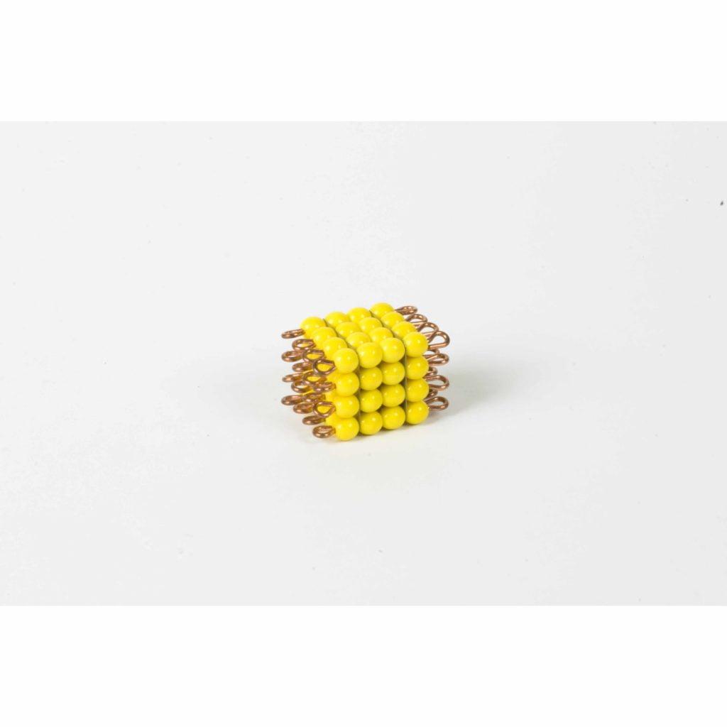 Individual Glass Bead Cube Of 4: Yellow-produs original Nienhuis Montessori-prin Didactopia by Evertoys