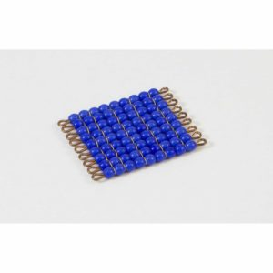 Individual Glass Bead Square Of 9: Dark Blue-produs original Nienhuis Montessori-prin Didactopia by Evertoys