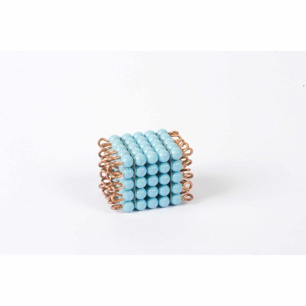 Individual Nylon Bead Cube Of 5: Light Blue-produs original Nienhuis Montessori-prin Didactopia by Evertoys