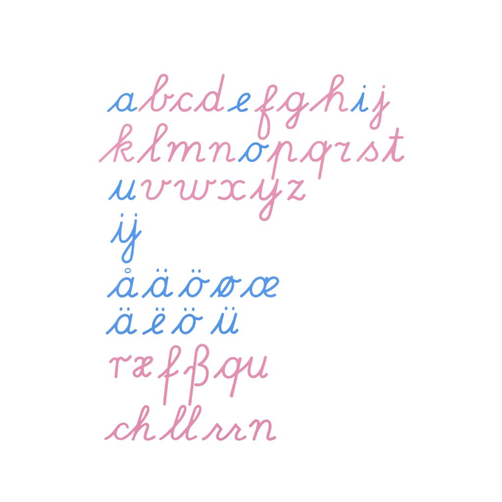 Large Movable Alphabet: International Cursive-produs original Nienhuis Montessori-prin Didactopia by Evertoys