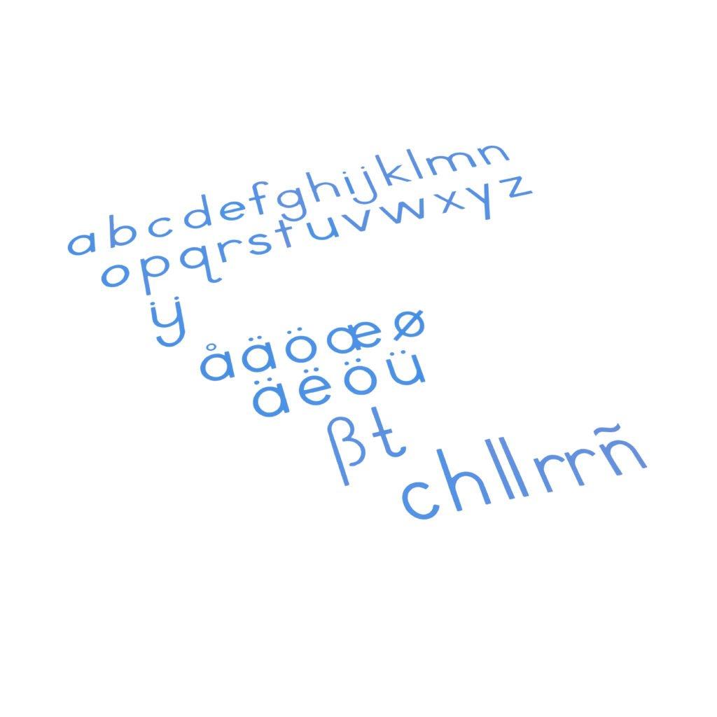 Medium Movable Alphabet: International Print - Blue-produs original Nienhuis Montessori-prin Didactopia by Evertoys
