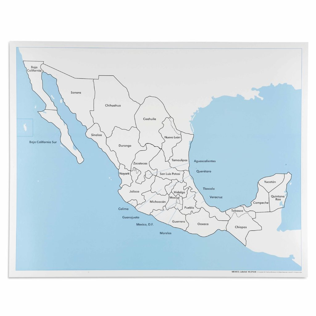 Mexico Control Map: Labeled-produs original Nienhuis Montessori-prin Didactopia by Evertoys