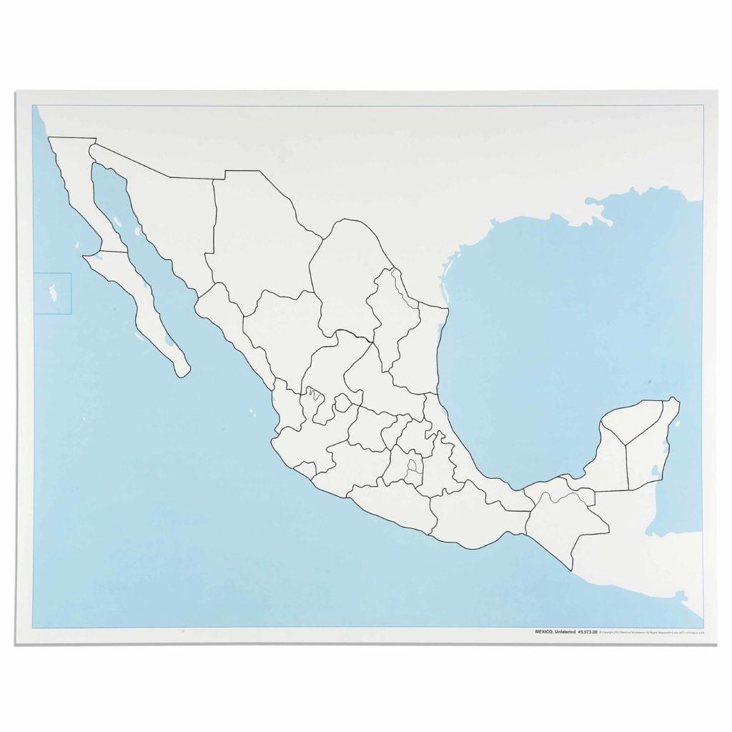 Mexico Control Map: Unlabeled-produs original Nienhuis Montessori-prin Didactopia by Evertoys