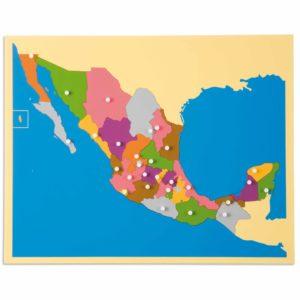 Puzzle Map: Mexico-produs original Nienhuis Montessori-prin Didactopia by Evertoys
