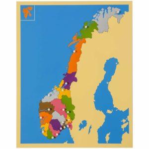 Puzzle Map: Norway-produs original Nienhuis Montessori-prin Didactopia by Evertoys
