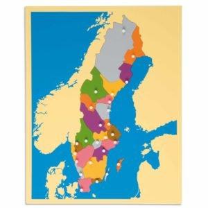 Puzzle Map: Sweden-produs original Nienhuis Montessori-prin Didactopia by Evertoys