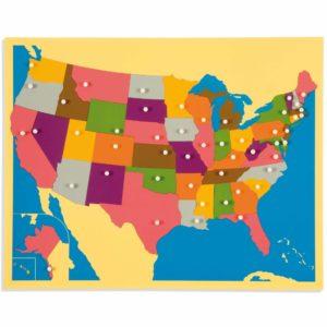 Puzzle Map: The United States-produs original Nienhuis Montessori-prin Didactopia by Evertoys