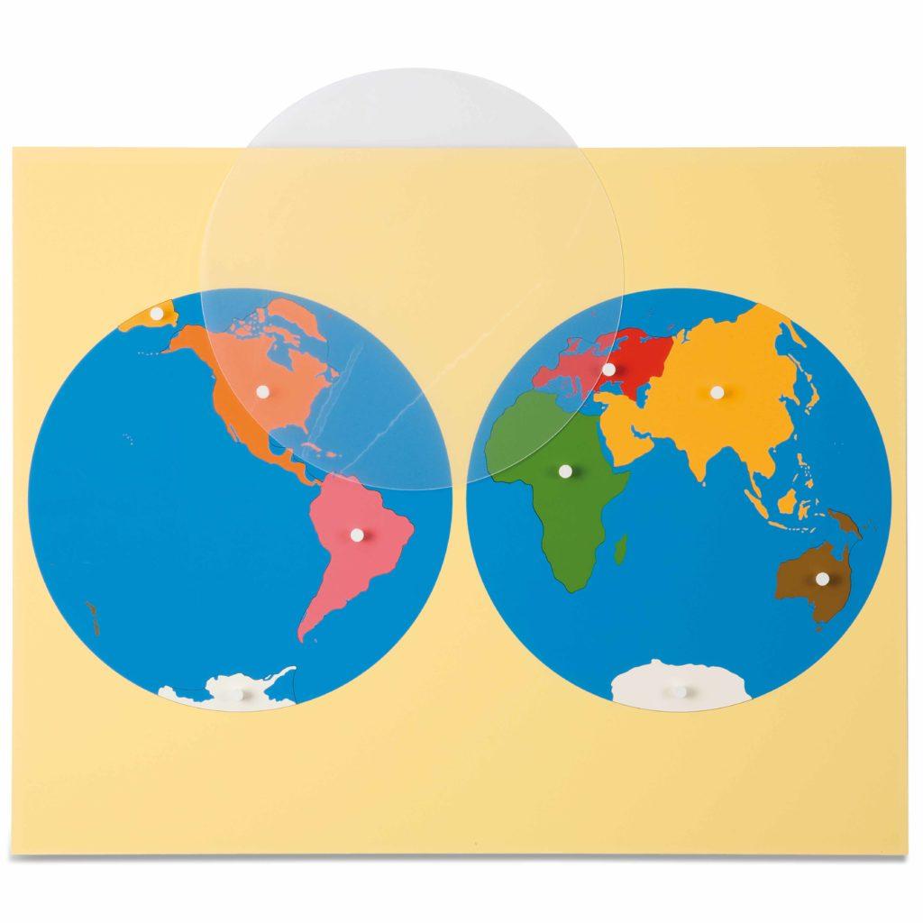 Puzzle Map: World Parts-produs original Nienhuis Montessori-prin Didactopia by Evertoys