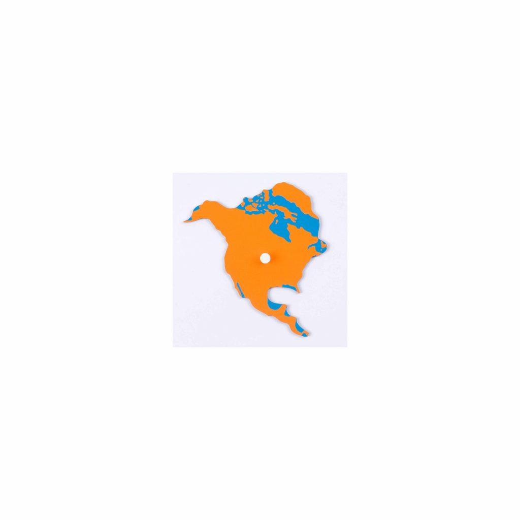 Puzzle Piece Of World Parts: North America-produs original Nienhuis Montessori-prin Didactopia by Evertoys