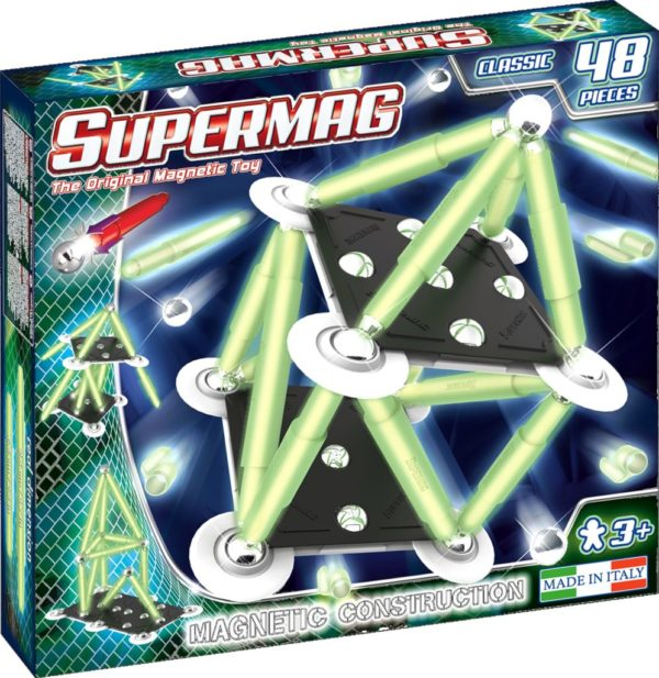 SUPERMAG CLASSIC GLOW - SET CONSTRUCTIE 48 PIESE - Supermag - prin Didactopia by Evertoys