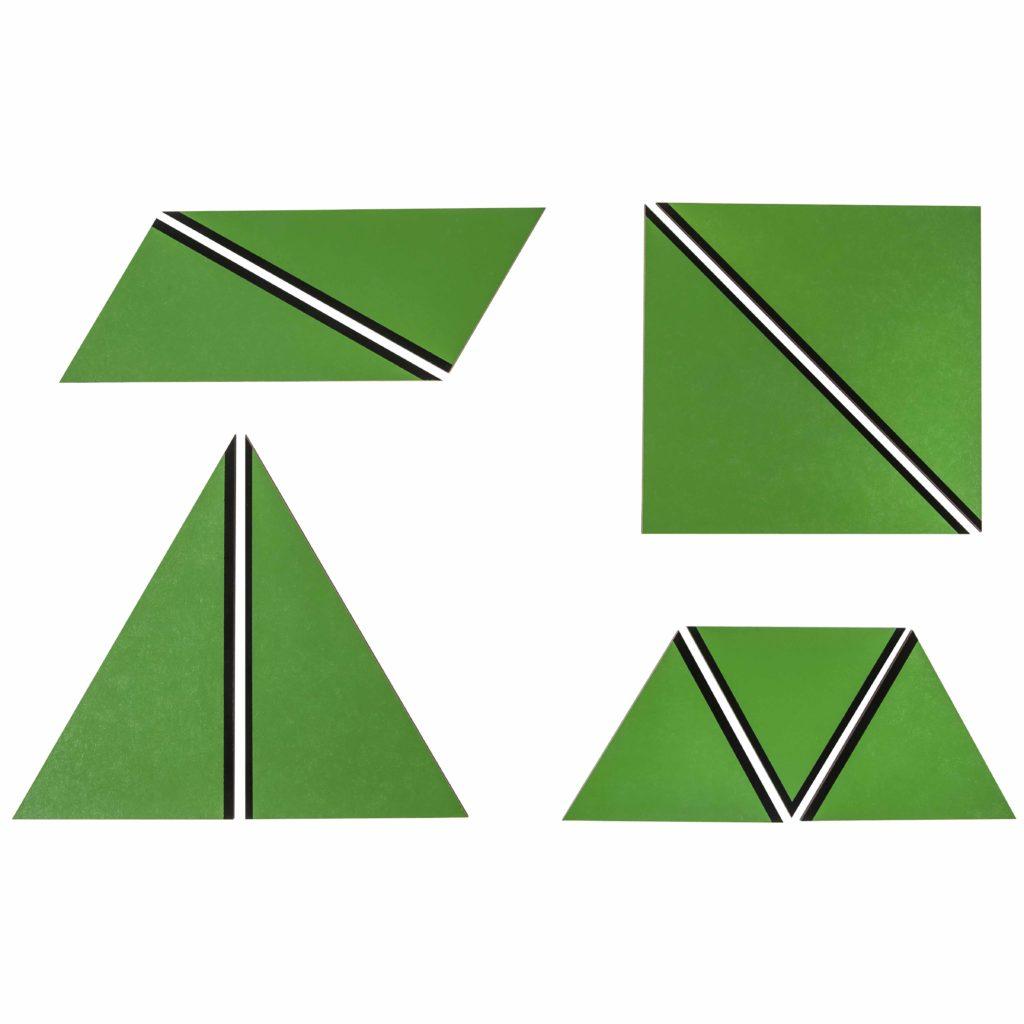 Set Of Green Constructive Triangles-produs original Nienhuis Montessori-prin Didactopia by Evertoys