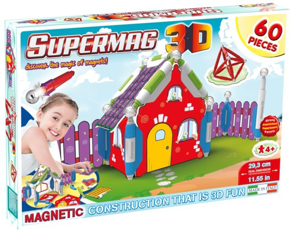Supermag 3D - Jucarie Cu Magnet Casuta - 60 Piese - Supermag - prin Didactopia by Evertoys