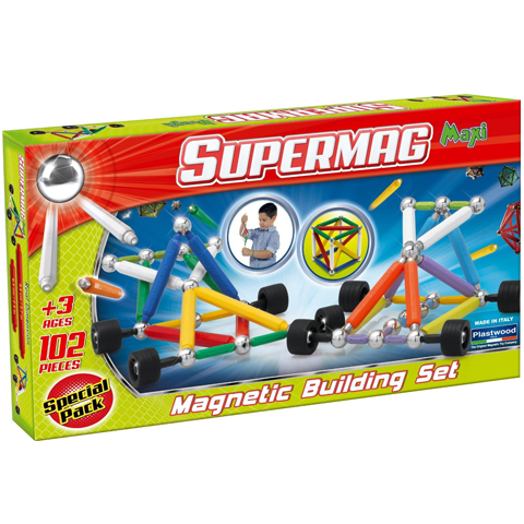 Supermag Maxi Wheels - Set Constructie 102 Piese - Supermag - prin Didactopia by Evertoys