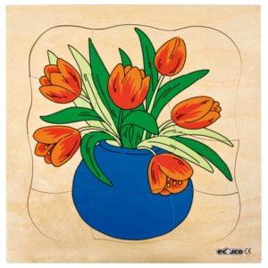 Growth puzzle - tulip-produs original Educo / Jegro -prin Didactopia by Evertoys