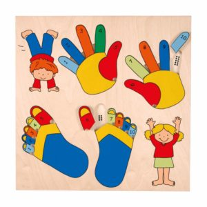 Inlay puzzle board fingers and toes-produs original Educo / Jegro -prin Didactopia by Evertoys