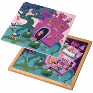 Wooden 2-layered puzzle l Princess castle l 89 puzzle pieces l Educo-produs original Educo / Jegro -prin Didactopia by Evertoys