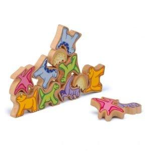 Dinozaurii fragili - Figurine de stivuit - Joc echilibru si dexteritate lemn - Erzi Germania 3