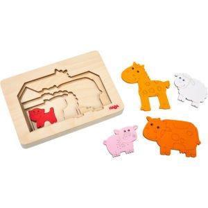 Puzzle multistrat lemn - Animale de la ferma - copii mici